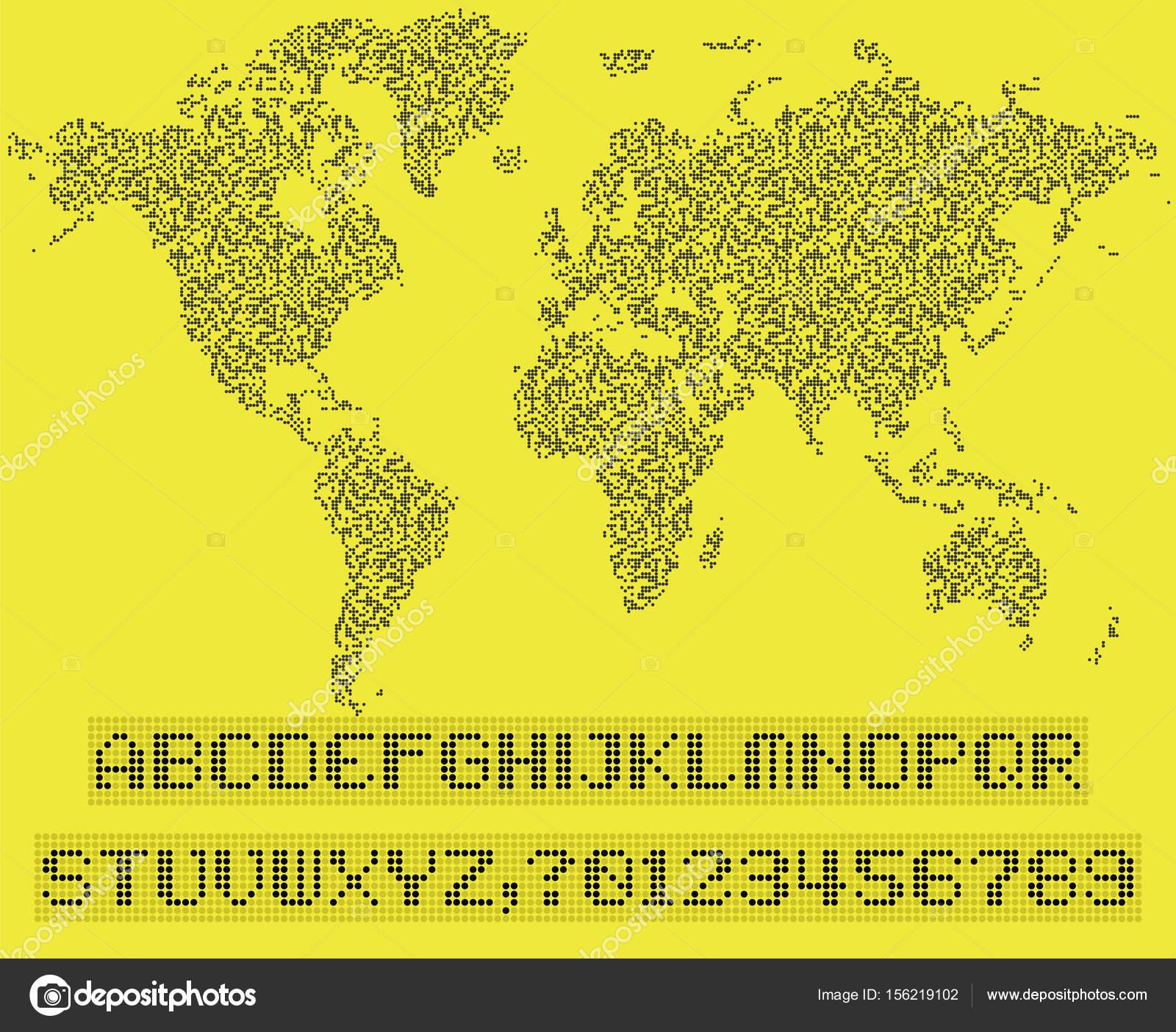 World map of dots led uppercase english alphabet number vecto world map of dots led uppercase english alphabet number vecto vector de stock gumiabroncs Images