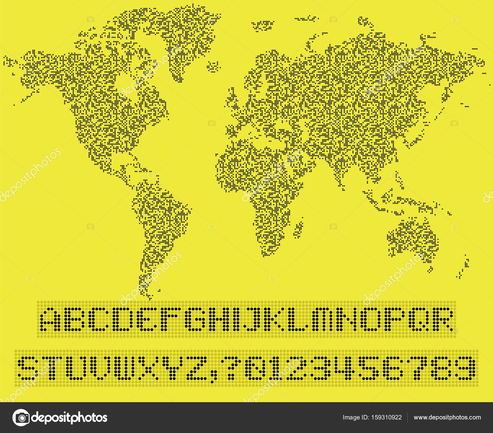 World map of dots led uppercase english alphabet number vecto world map of dots led uppercase english alphabet number vecto stock vector gumiabroncs Image collections