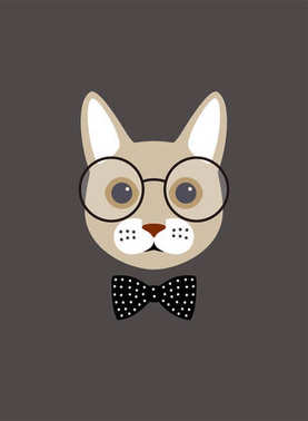 Portrait of cat, wearing glasses, cool style