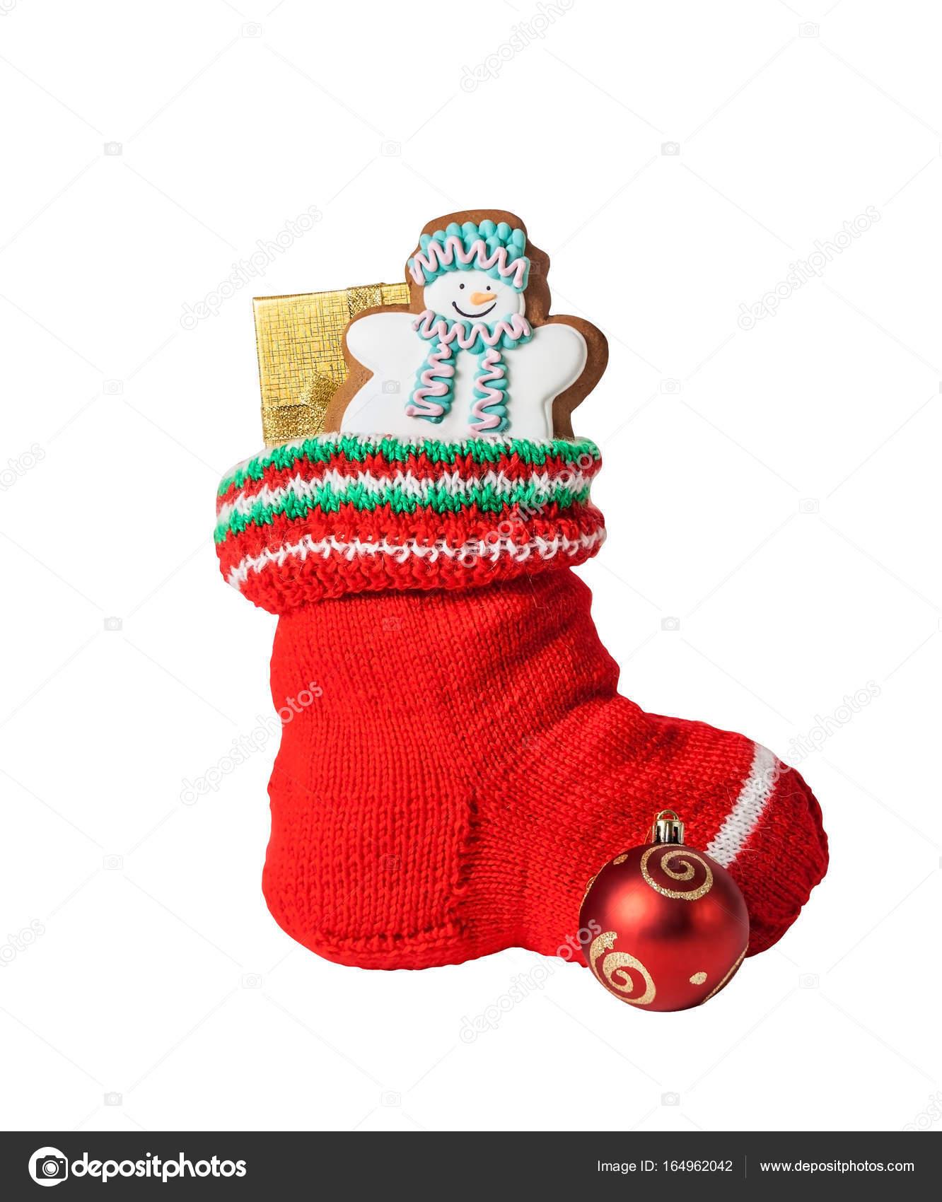 Weihnachts-Strumpf mit Lebkuchen Kuchen, Geschenk und Dekoration ...