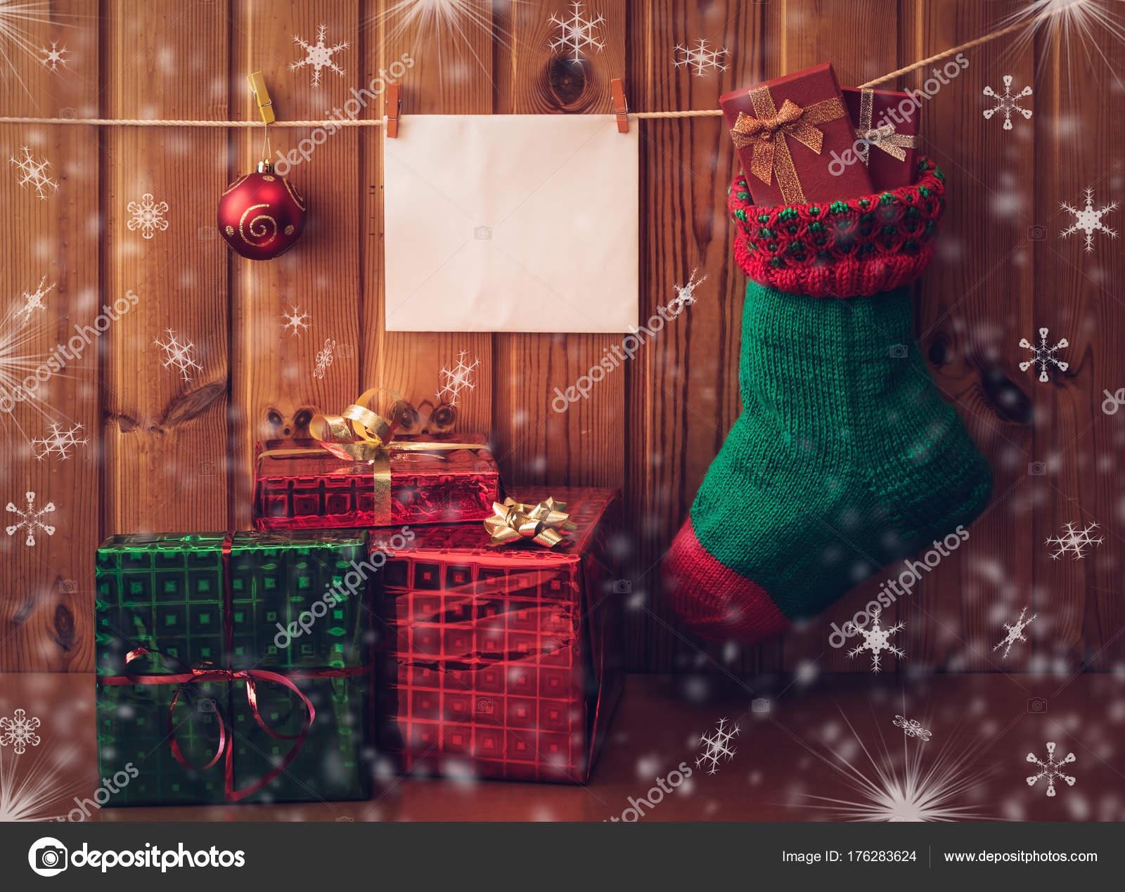 Weihnachts-Strumpf, Gruß, Karten und Geschenke. Vintage-Stil ...