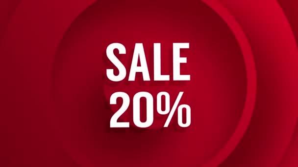 Verkauf mit prozentualen Rabatten von 10 bis 90 roten Hintergrund Animation