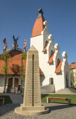 Cskszereda Miercurea ciuc April 21, 2018 World War II memorial erected between the Millennium Church and the Church of the Holy Cross.