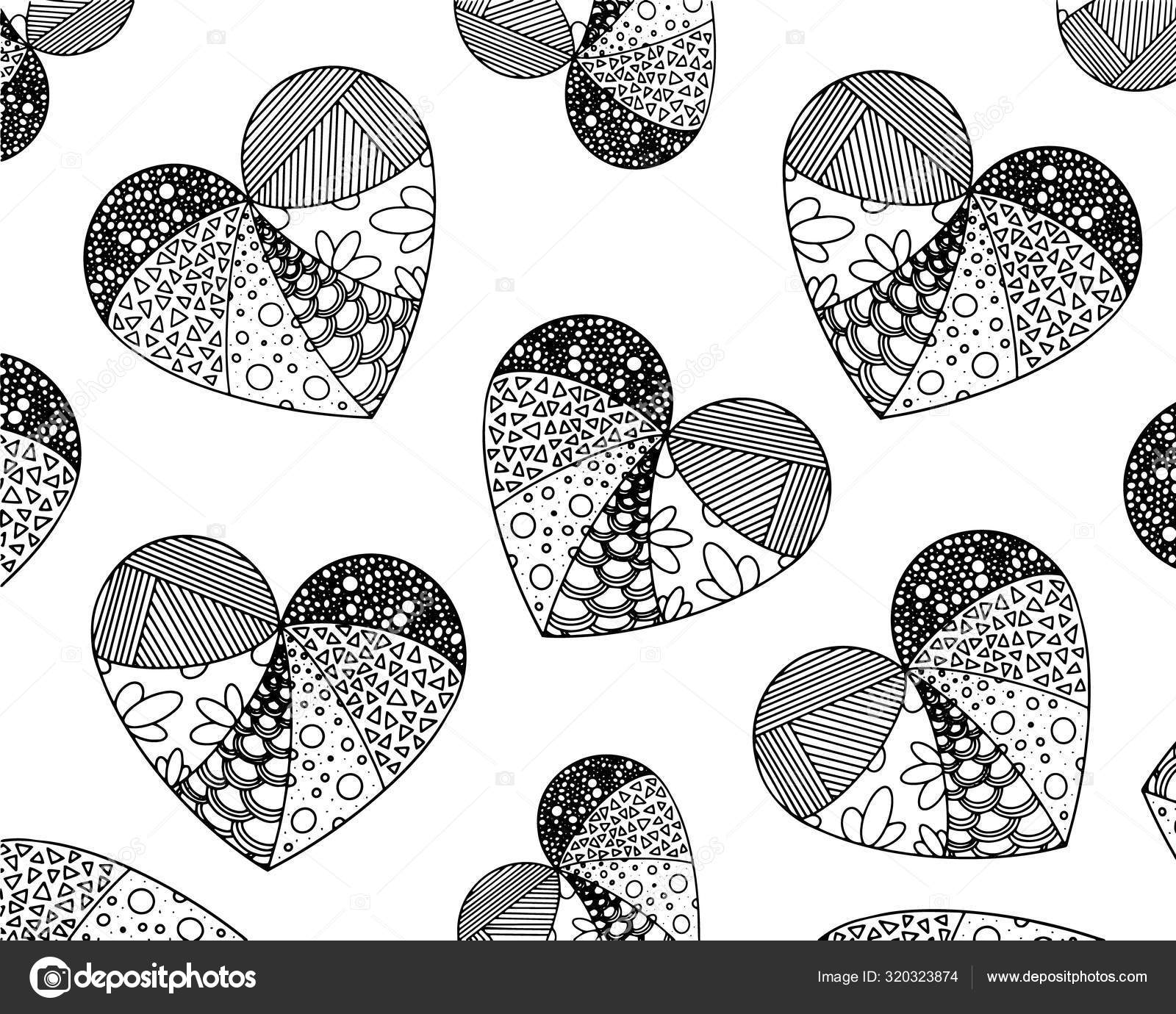 Vector coloring from zentangle patterns in the form of heart ... | 1380x1600