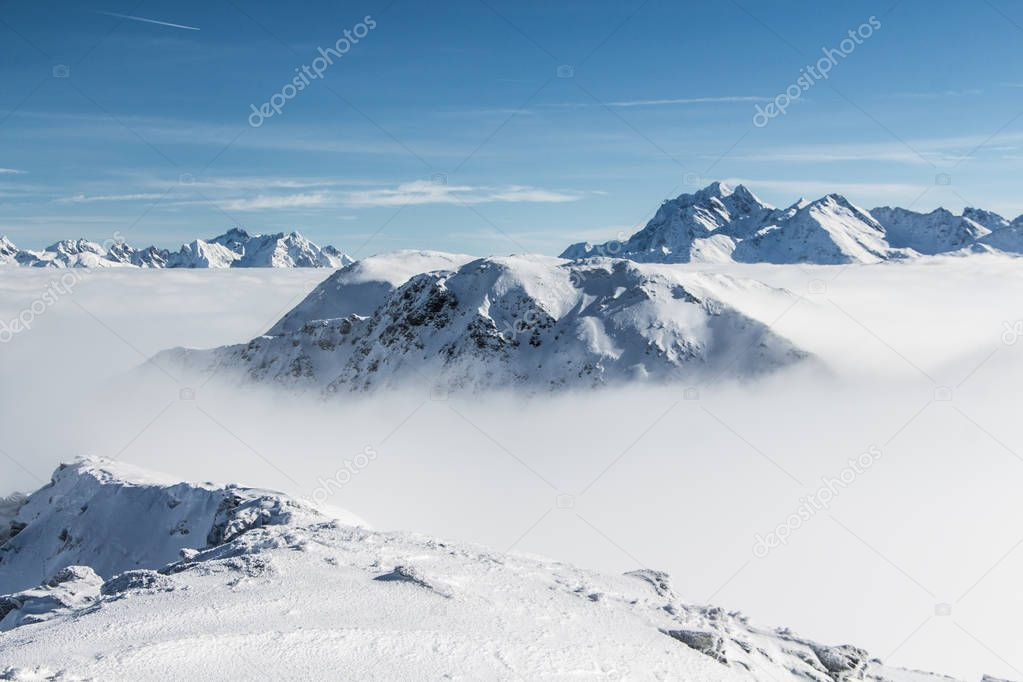 Beautiful landscape above the clouds
