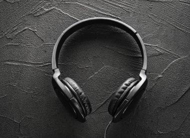Earphones on Texture of  cement