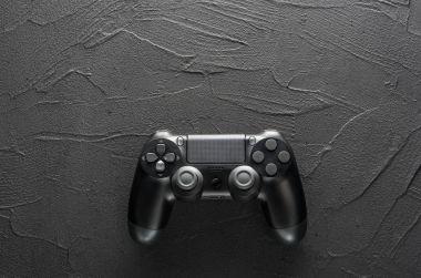 Gamepad on dark background, close up stock vector