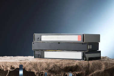 Video cassettes on the table, close up