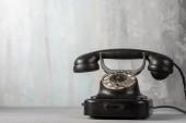 Telefono vintage retrò nero, primi piani