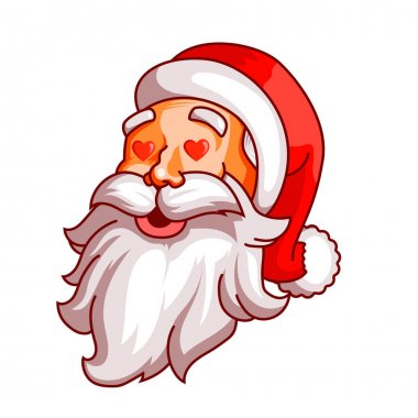 Santa claus emotions. Part of christmas set. Love, passion, amorousness. Ready for print.