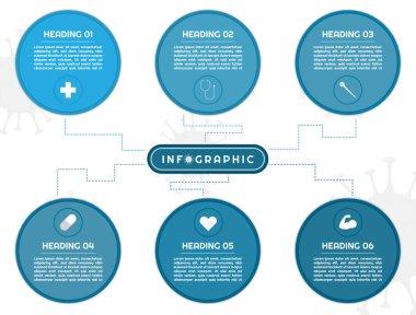 Infographic mind map big circle shape design for medical covid19 concept. vector illustration.