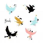 Fényképek Illusztráció: madarak sziluettek