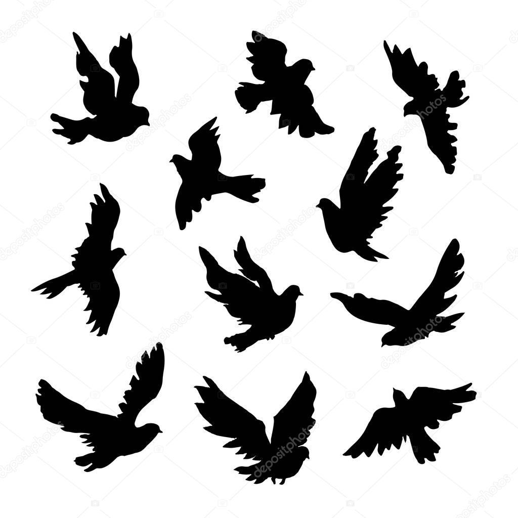 鳥のシルエットのイラスト \u2014 ストックベクター © mrs_opossum