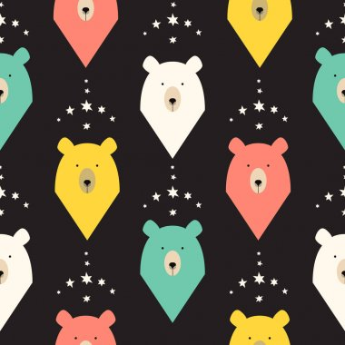 Bear seamless pattern with stars