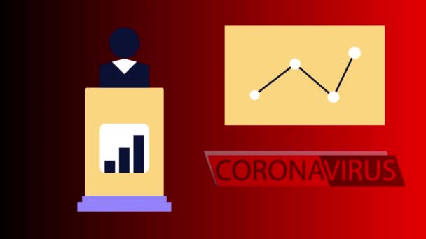 illustration videos, corona virus attacks on business people, flat motion graphics, HD animation. business people on the podium displaying infographics due to corona