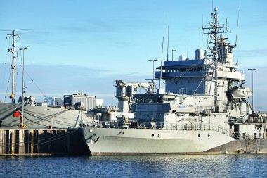 Moored military ships on a pier in Kiel