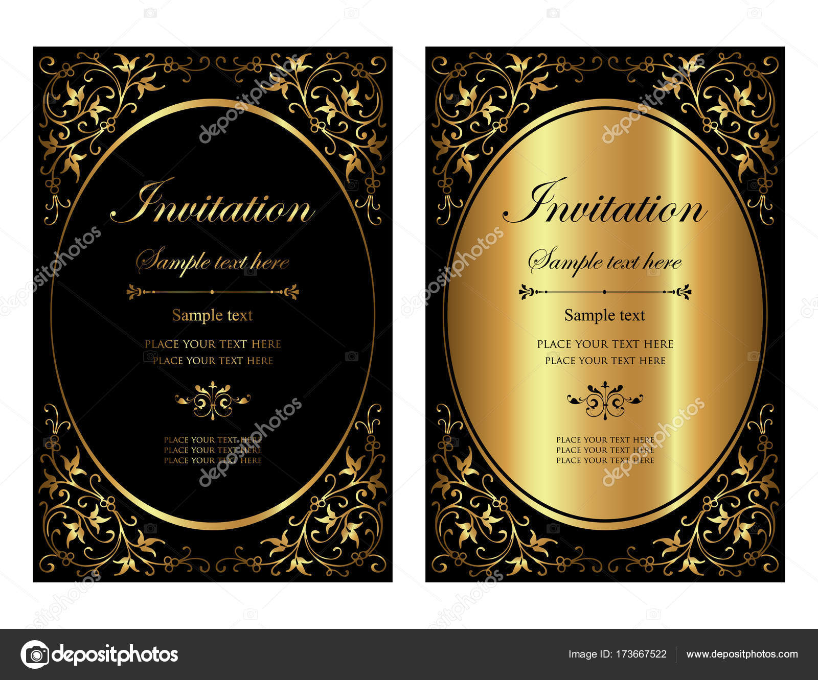 Invitation card design - luxury black and gold vintage style — Stock Vector  © bluepencil #173667522