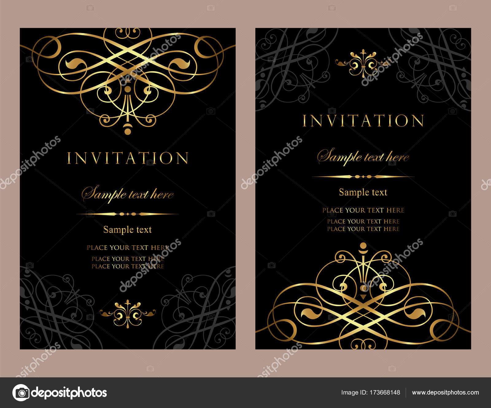 Invitation card design - luxury black and gold vintage style 3