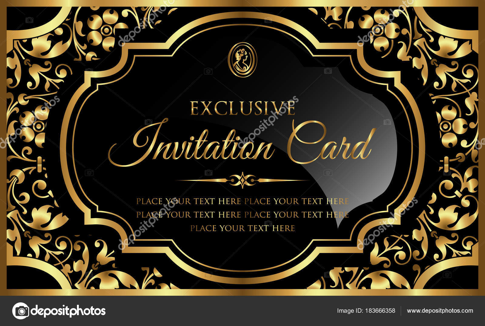 Invitation card design - luxury black and gold vintage style — Stock Vector  © bluepencil #183666358