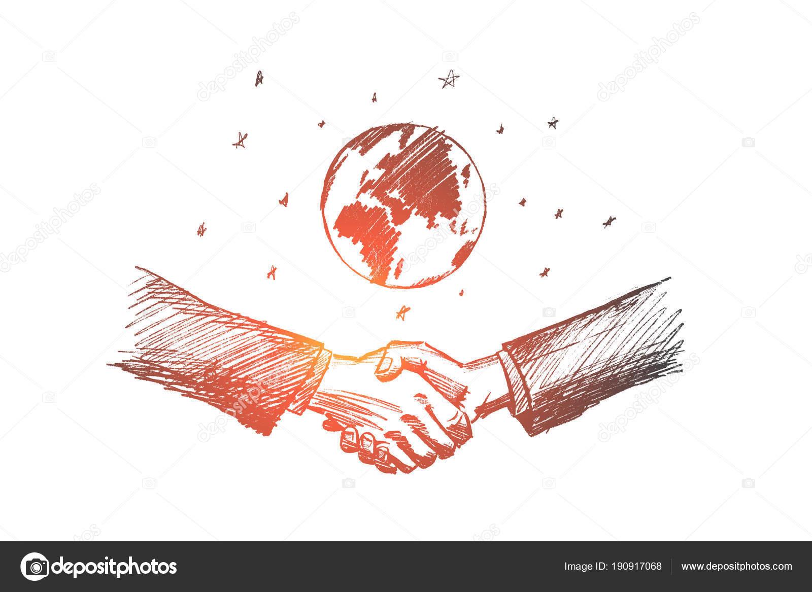 Dibujo De Vector Mano Dibujada Negocios Internacionales