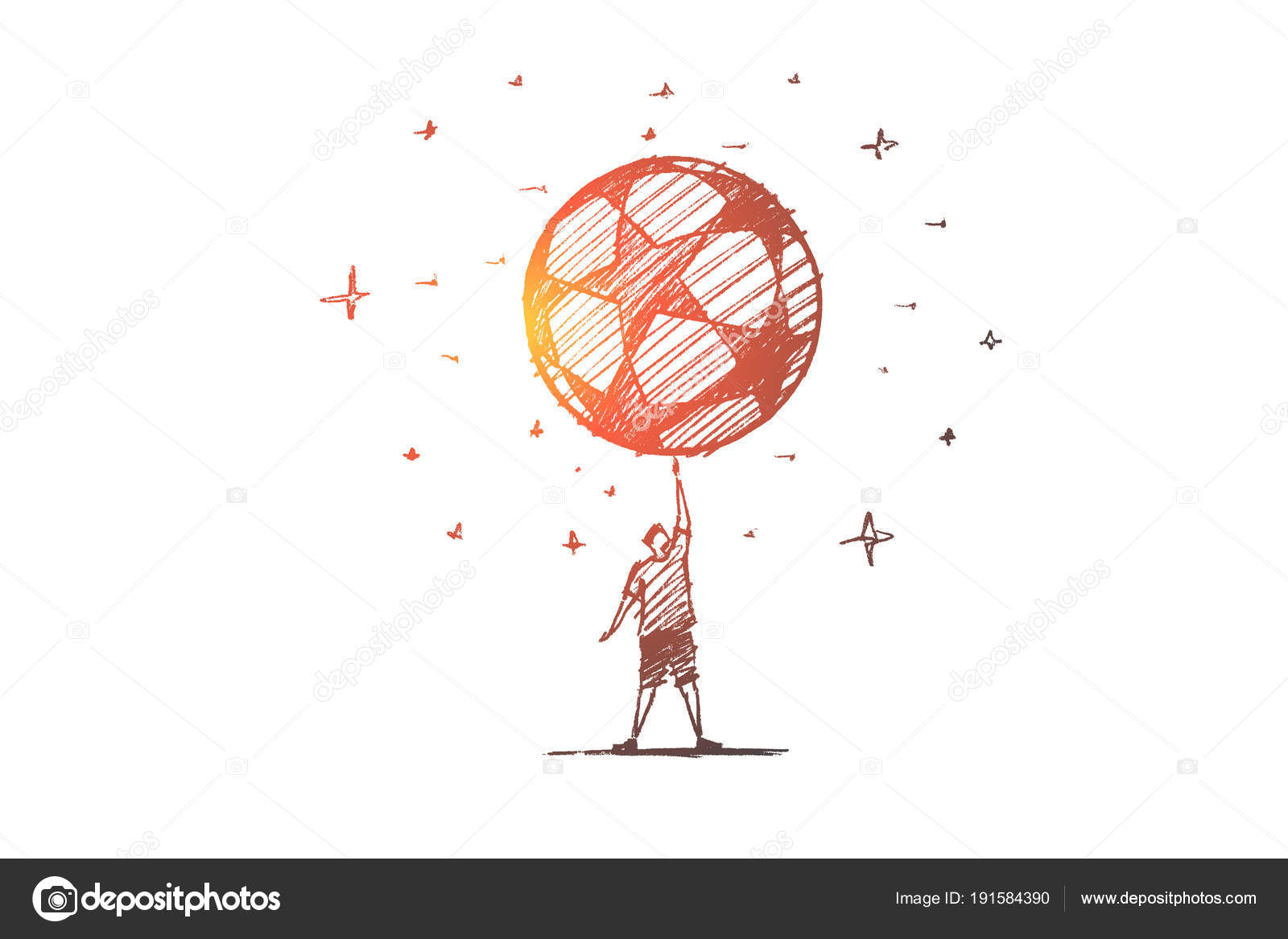 Hand drawn football player holding big ball above stock vector