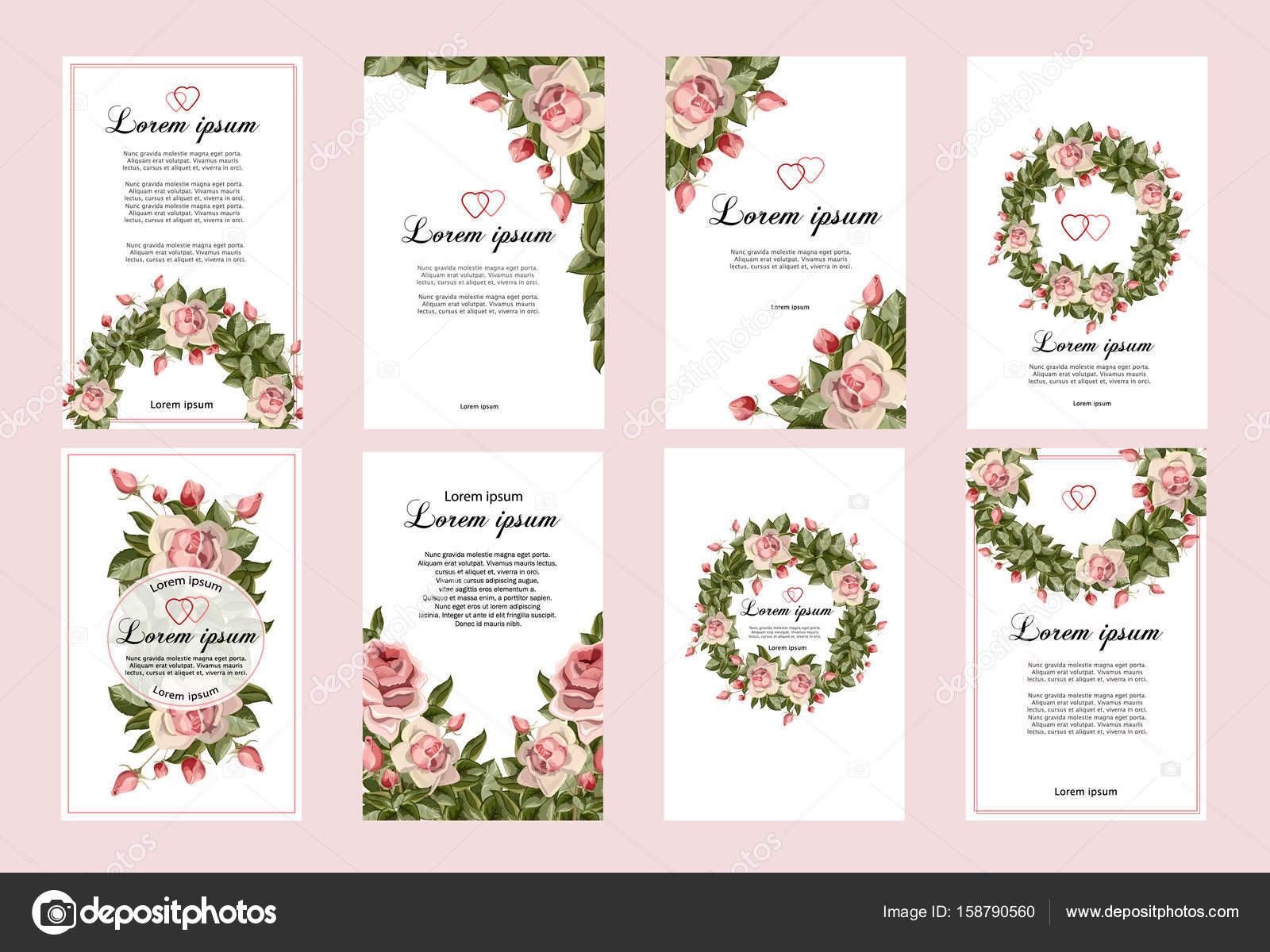 Collection of wedding invitation templates with flowers — Stock ...
