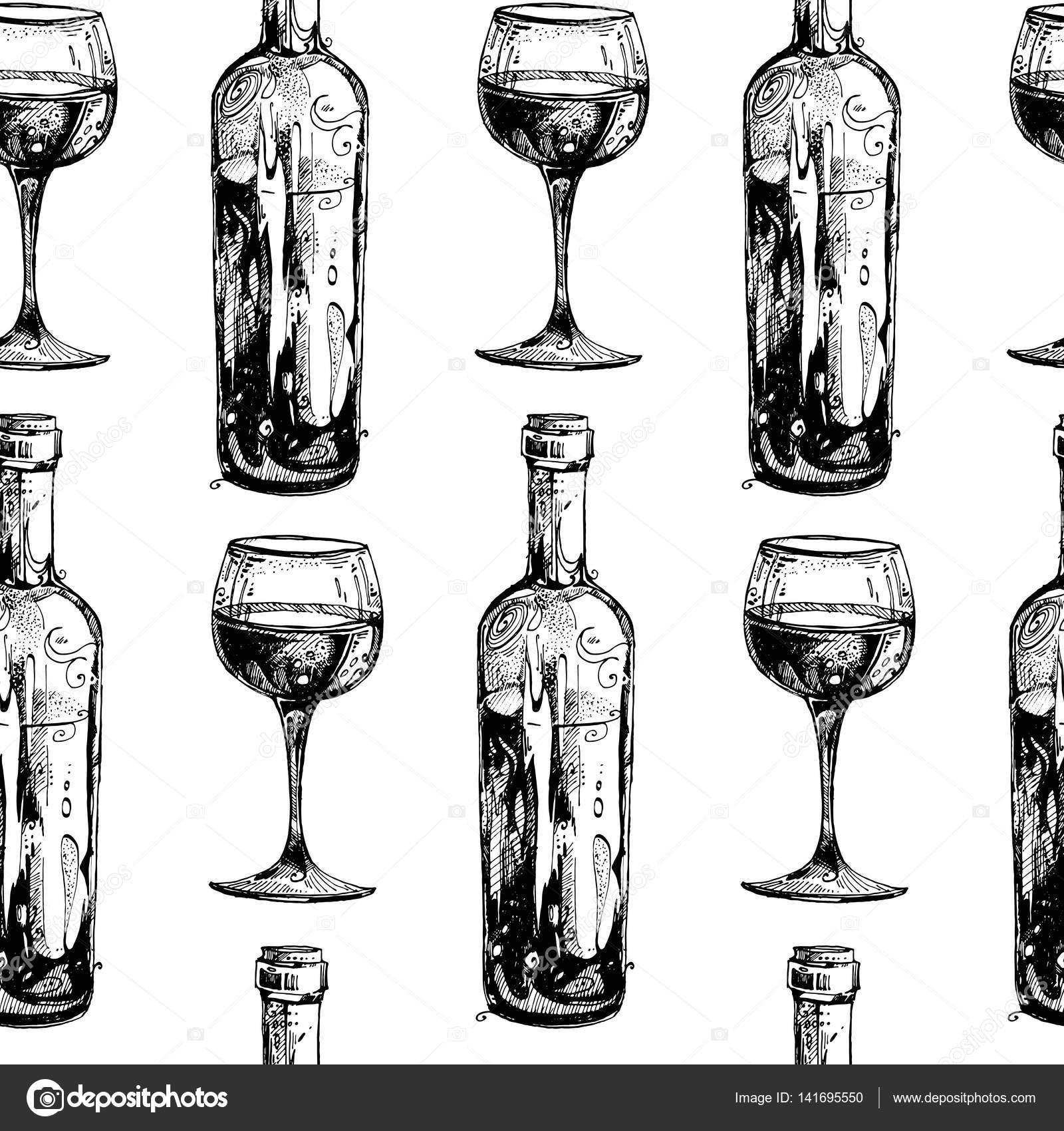 texture transparente  une bouteille de vin  verre  u00e0 vin  motif r u00e9p u00e9t u00e9  u2014 image vectorielle