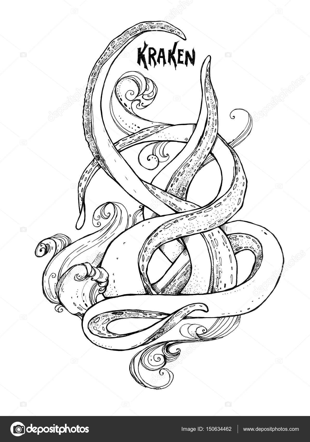 Tentacles Of The Octopus In The Waves Kraken Foto De Stock