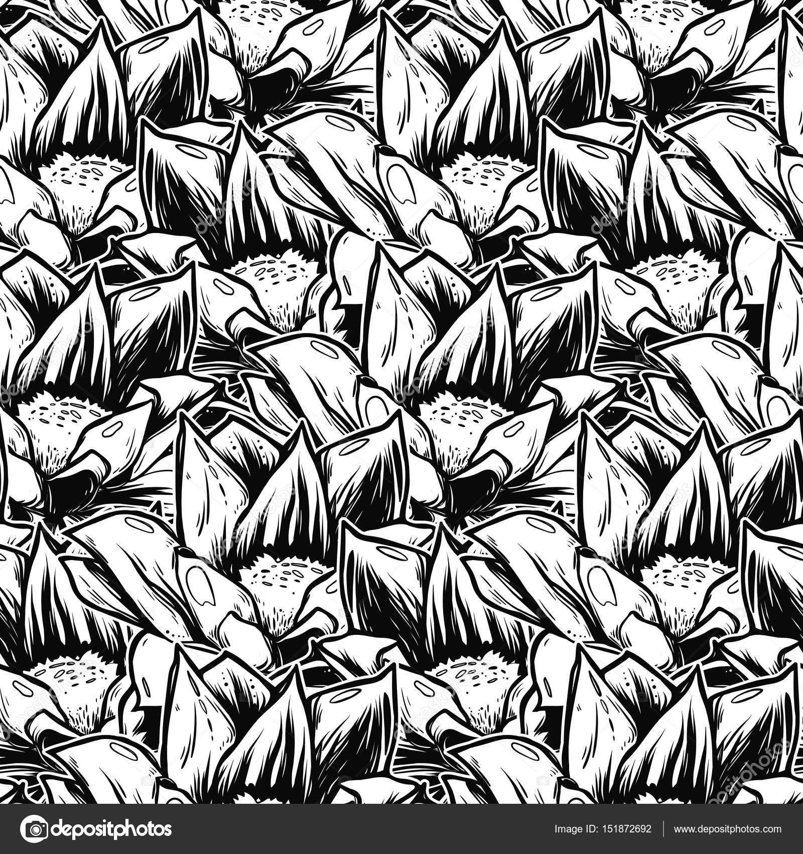 Seamless Pattern With Black Lotus Flowers Stock Vector Lisnycia
