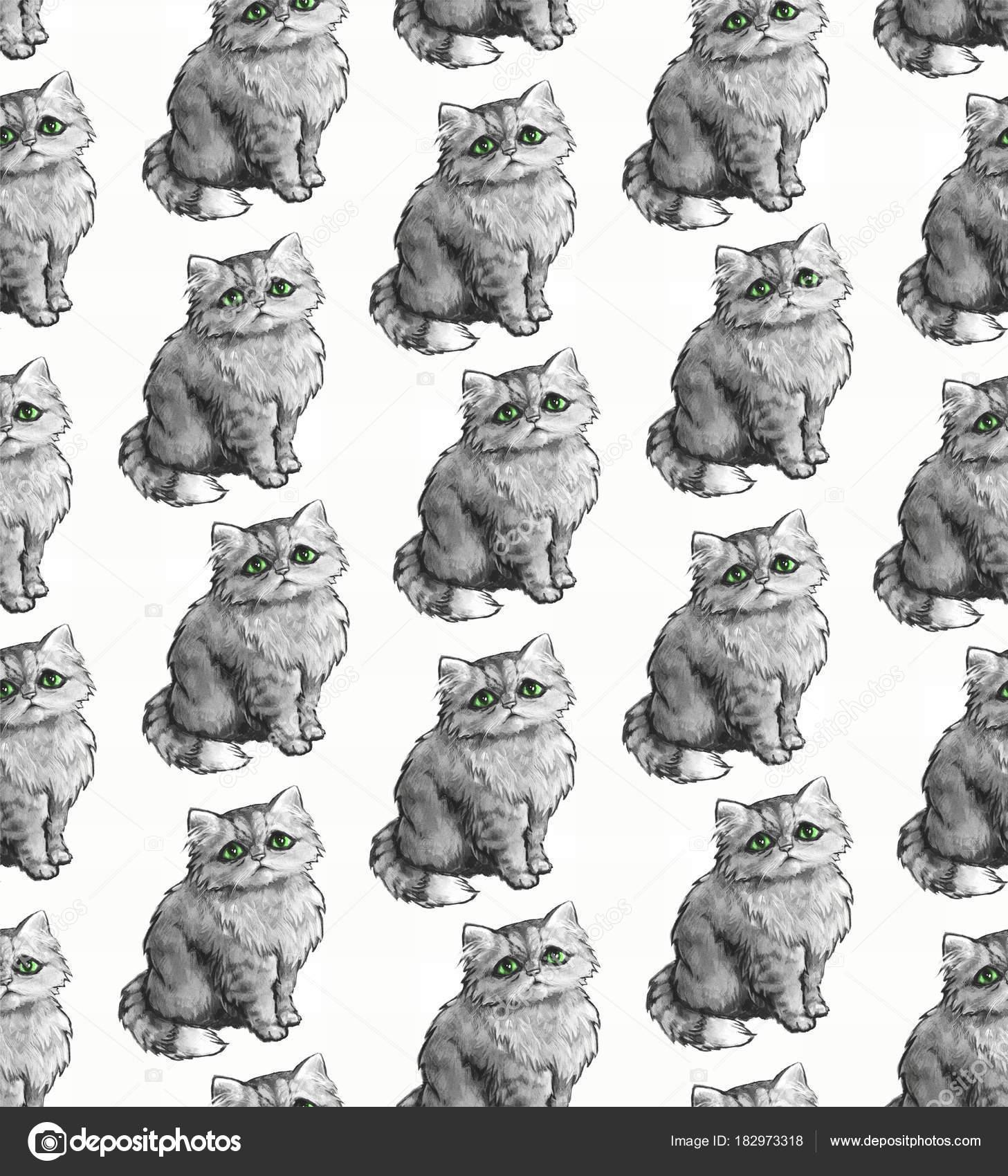 Textura Sem Costura Fundo Repetição Padrão Telha Ornamento Com Gatos ...