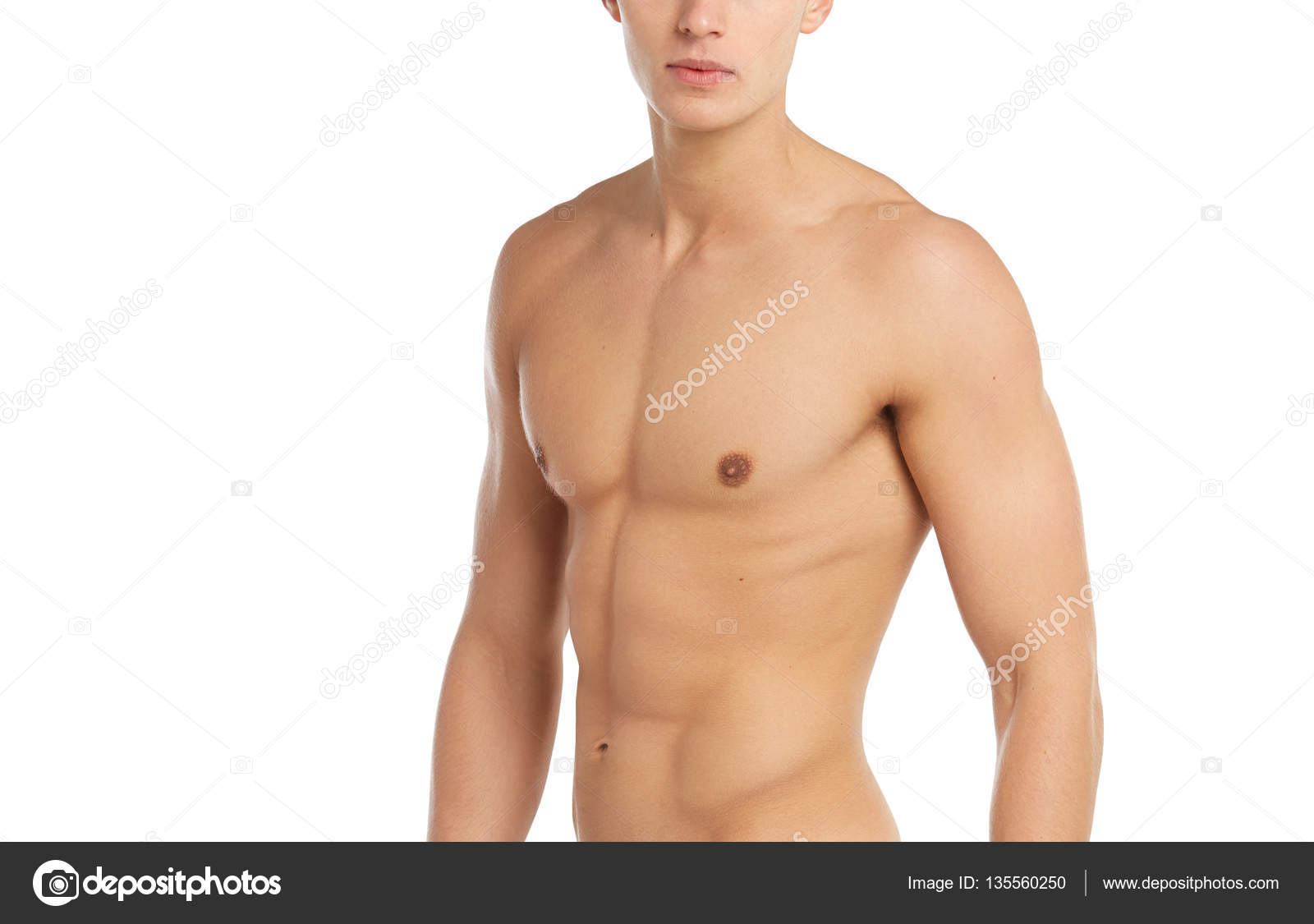 sports and fitness topic: naked sporty muscular man standing