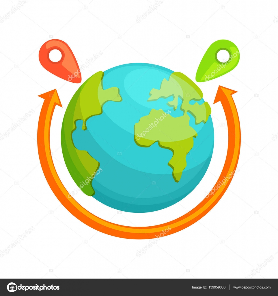Delivery around the world concept globe with red arrow rotating delivery around the world concept globe with red arrow rotating destination transportation service company symbol of worldwide coverage biocorpaavc