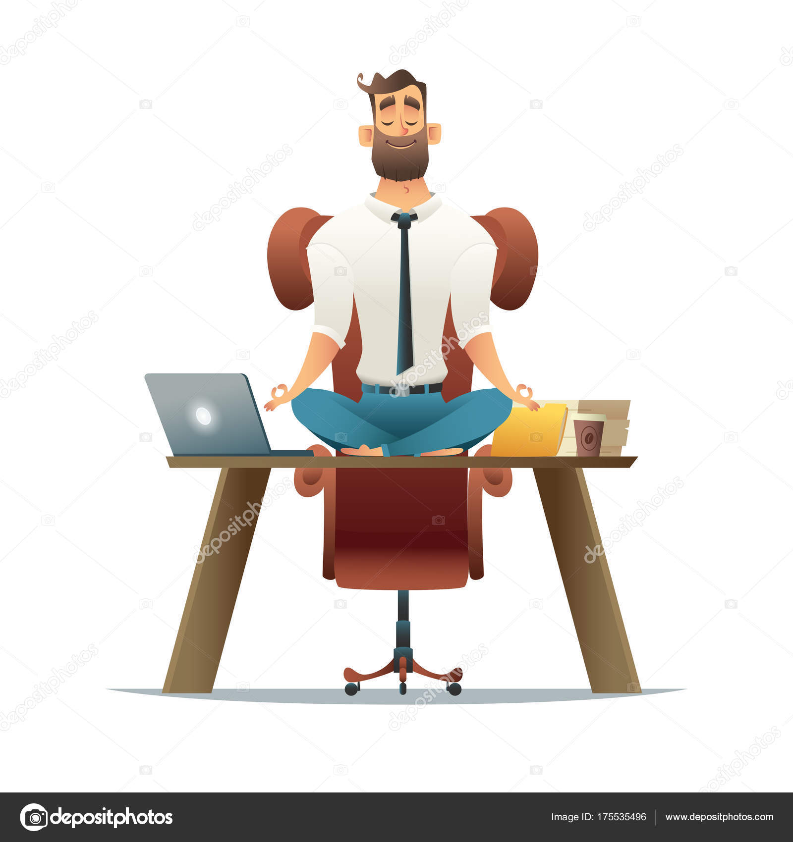 meditation businessman office. Cartoon Style Man Meditation In Office. Yoga At Job. Young Relaxing Lotus Position On Table With Computer Work \u2014 Vector By DemianVS Businessman Office I