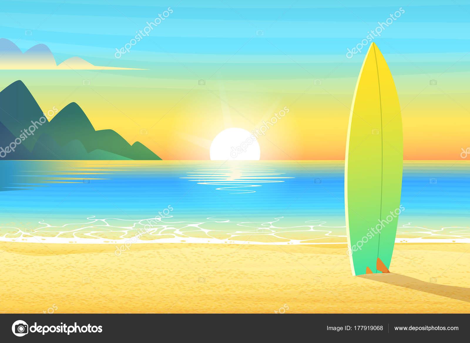 Tabla De Surf En Una Playa De