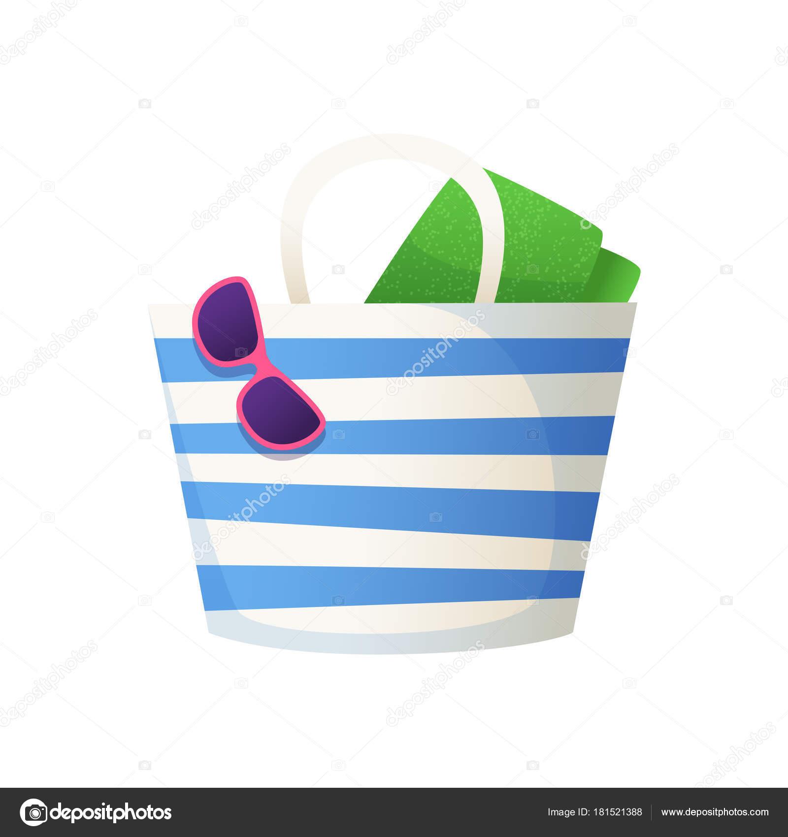 Sac de plage avec serviette et lunettes à ce sujet. Illustration de l\u0027 accessoire de plage de dessin animé. Icône isolé\u2013 illustration de stock