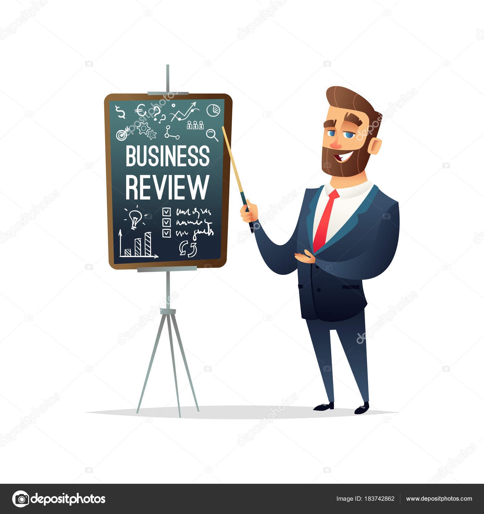 Carácter de empresario exitoso barba muestra informe de proyecto de ...