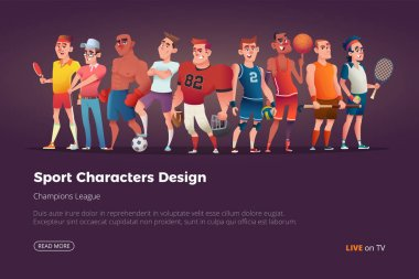 Set of different characters of summer sports. Vector cartoon illustration
