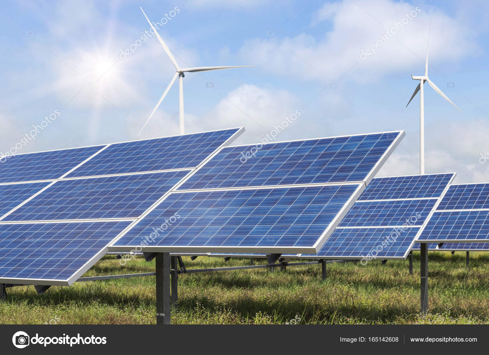 Solar Panels And Wind Turbines Generating Electricity Green Energy Renewable Stock Photo