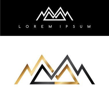 Overlapped lined mountains symbol