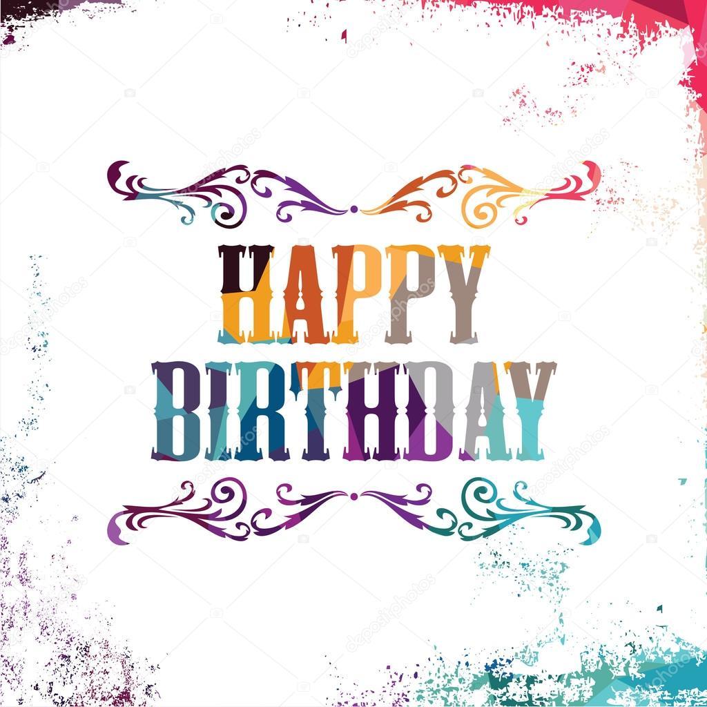 Happy Birthday bunten geometrischen Grüße — Stockvektor ...