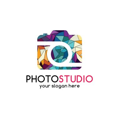 Abstract colorful logo of triangle geometrical photography with inscription Photo studio, vector illustration clip art vector