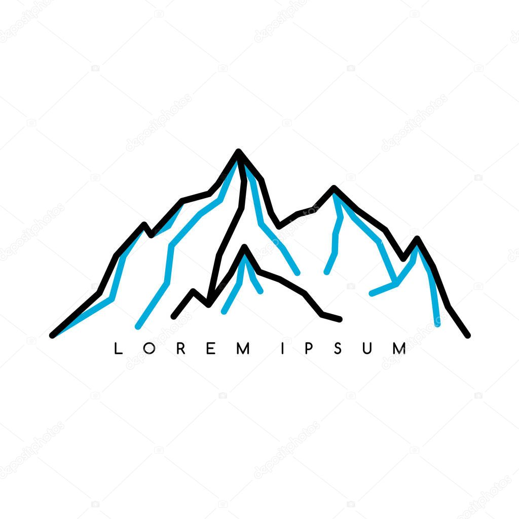Mountain silhouette with inscription