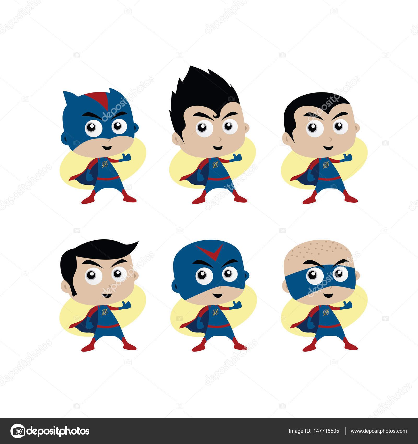 super heróis dos desenhos animados vetores de stock vectorfirst