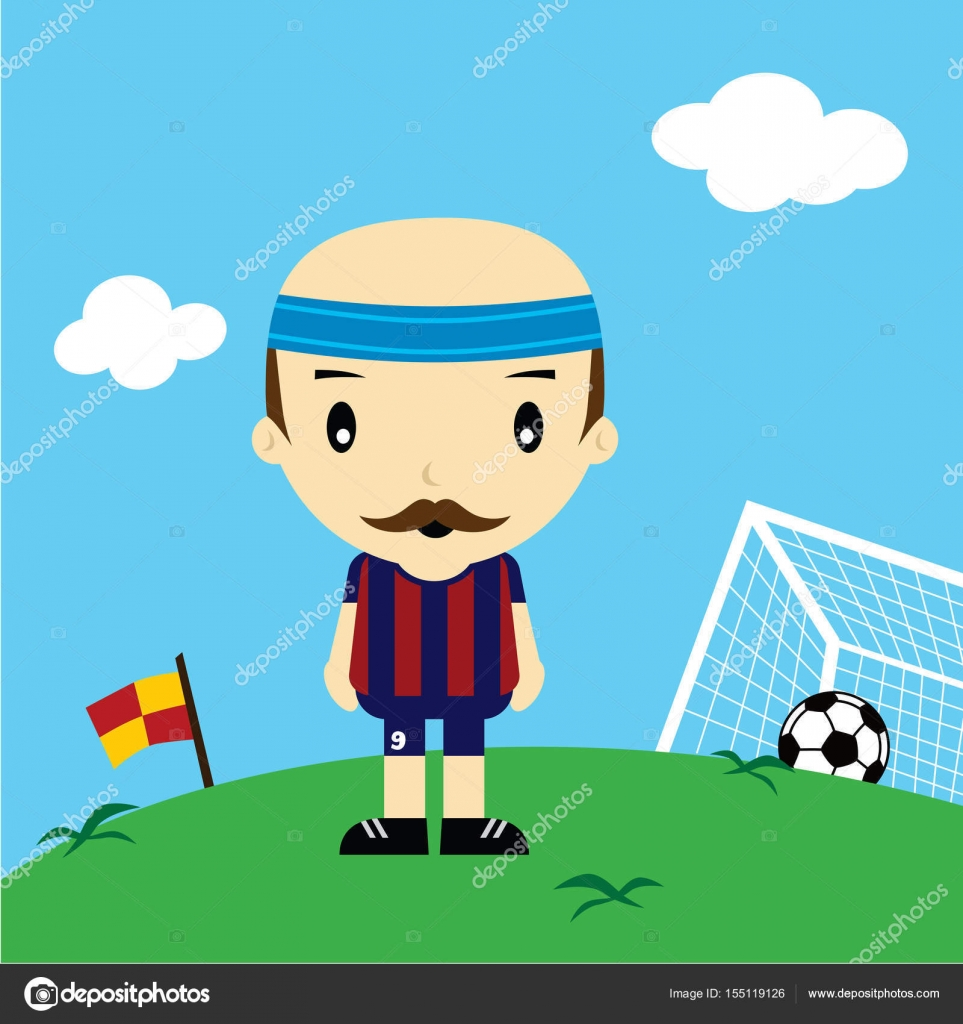 Giocatore di calcio cartone animato u vettoriali stock
