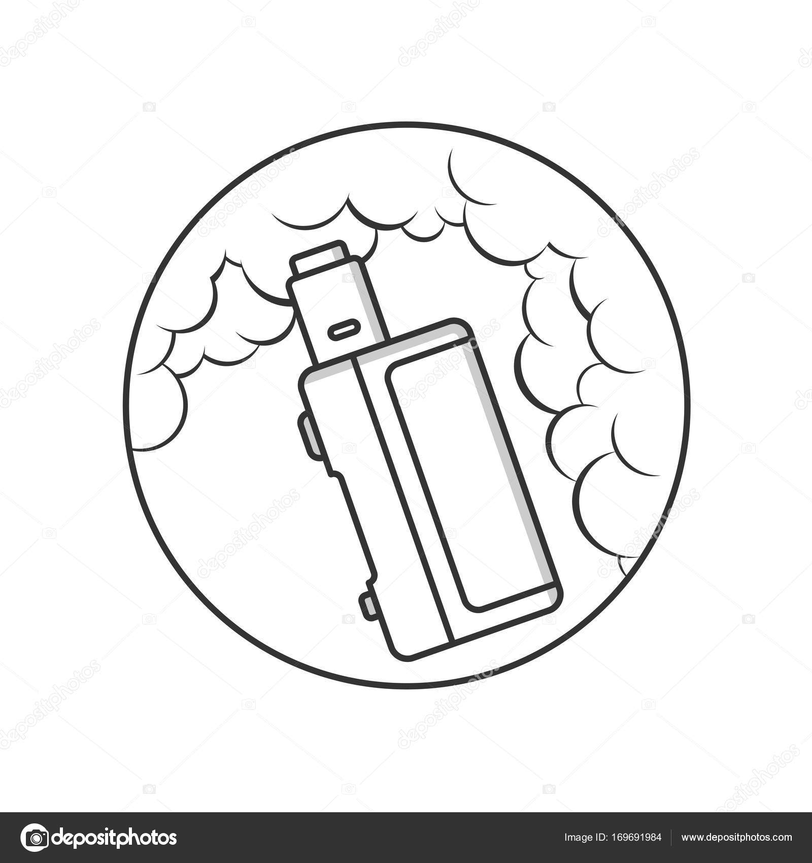 Vaporizer with clouds of vape — Stock Vector © vectorfirst