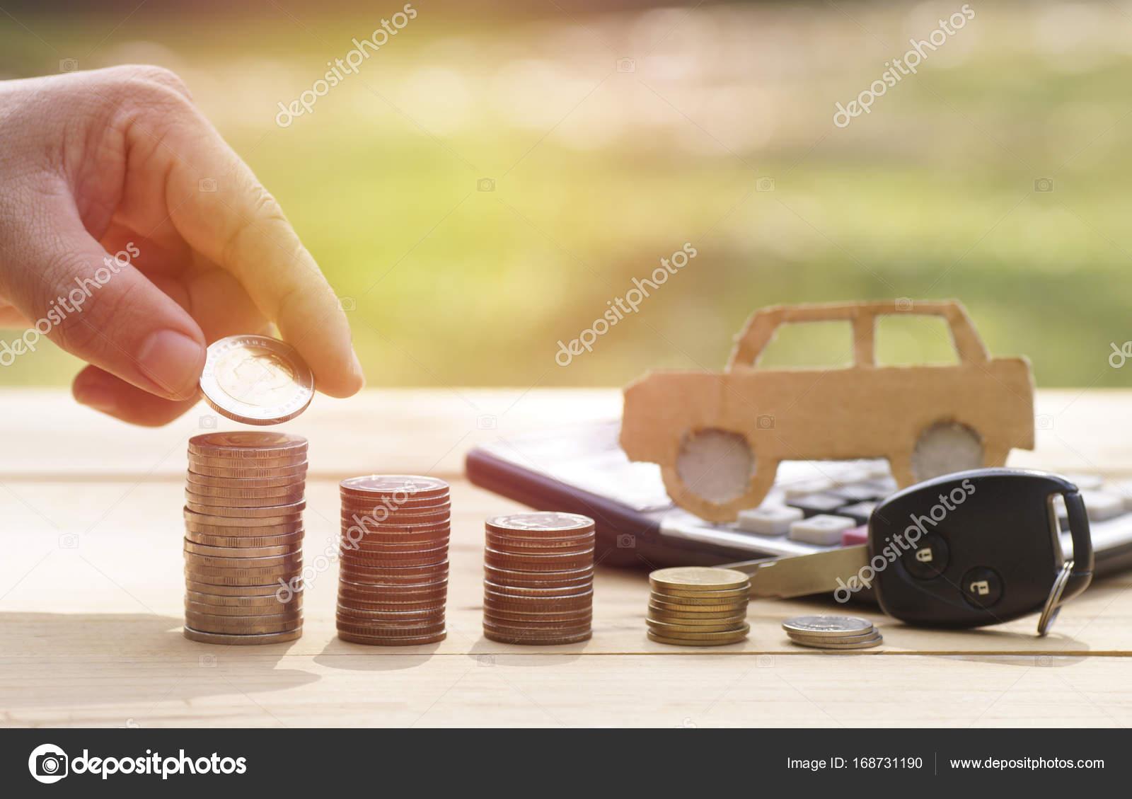 Stapel Geld Munten En Sleutel Concept In Verzekering Lening
