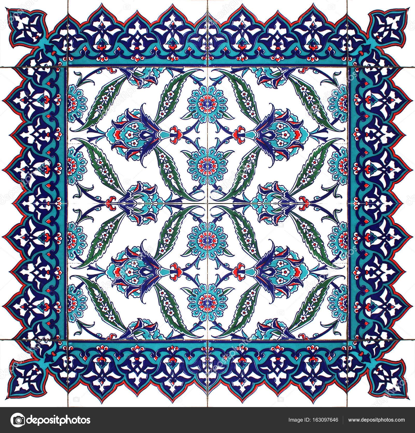 Orientalische Fliesen Muster Floral Ornament Blau Weiss Grun