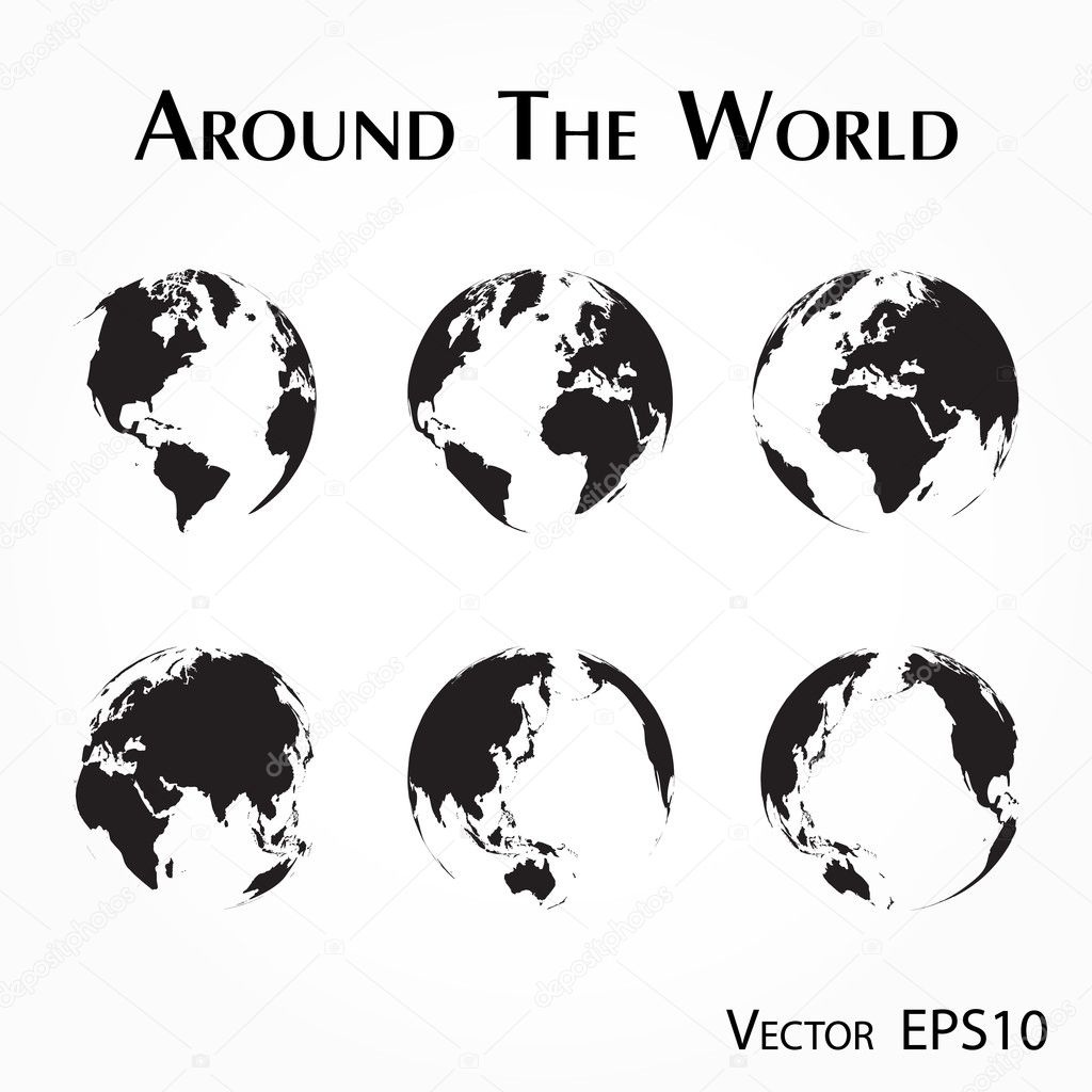 Around the world outline of world map vector de stock around the world outline of world map vector de stock gumiabroncs Images