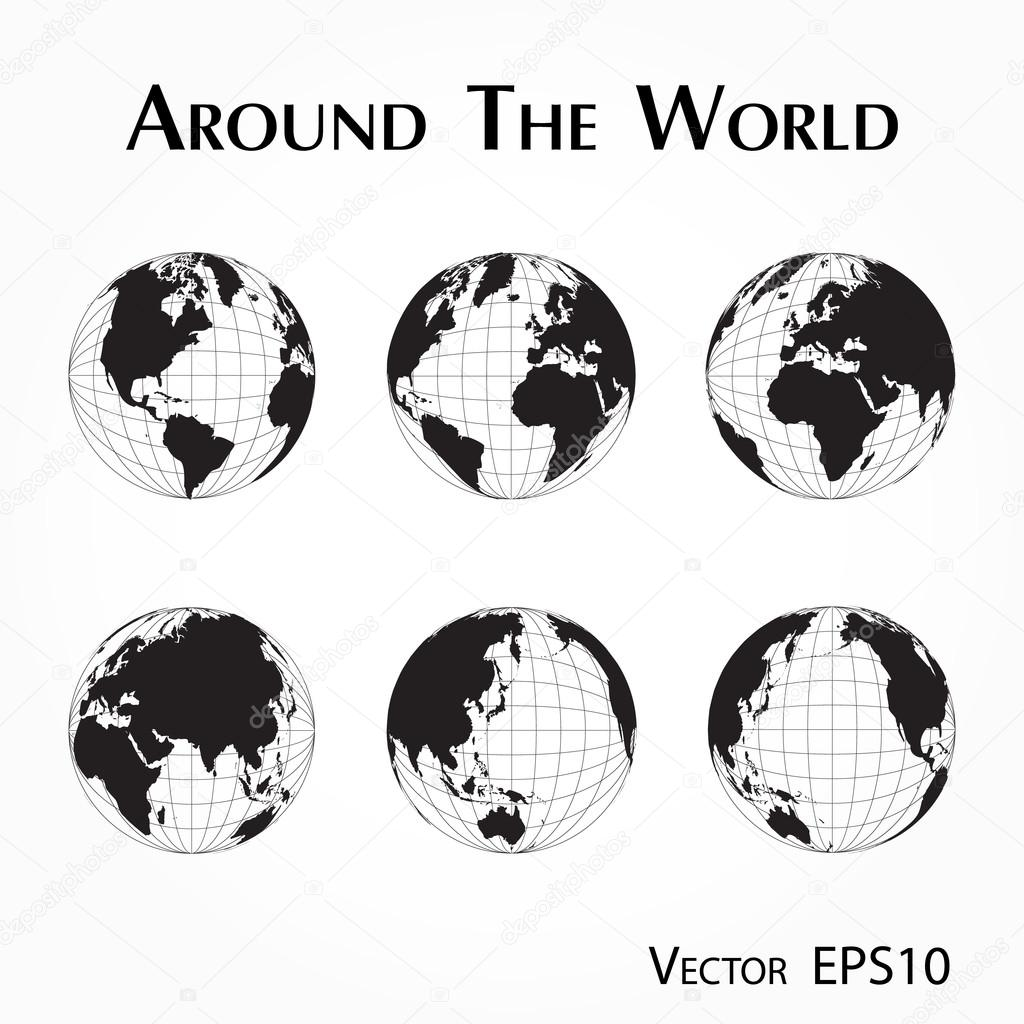 Around The World Outline Of Map With Latitude And Longitude Stock Vector
