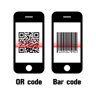 Smartphone scan QR code and bar code . flat design